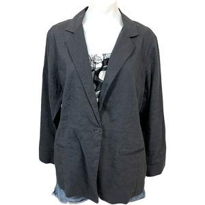 Eileen Fisher Unstructured One Button Linen Blazer